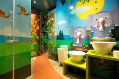 The main purpose in designing the children's toilet in Tel Aviv was to create a special and different atmosphere. The space was designed as a colorful and wild jungle, where design controls every detail. The space clearly belongs to children, but...