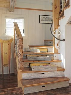 Each step serves as a storage drawer.