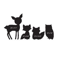 Deer, Owl, Raccoon, Fox - Woodland Creatures Collection - Wall Decal Set