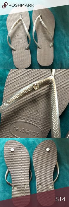 Never Worn Havaianas Grey havaianas never worn with a little rhinestone touch on each. 🌸🌺🌼summer fun Havaianas Shoes Sandals