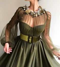 Details - Olive color - Tulle fabric - Handmade embroidery flowers and leaves - Ball-gown style - Party and Evening dress
