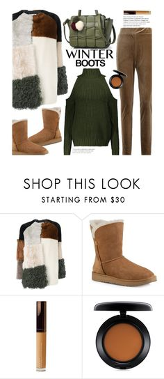 """Untitled #2344"" by beebeely-look ❤ liked on Polyvore featuring P.A.R.O.S.H., UGG, Becca, MAC Cosmetics, StreetStyle, sammydress, streetwear, winterboots and fauxfurcoats"