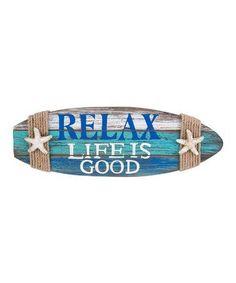 'Relax' Surfboard Wall Plaque #zulily #zulilyfinds