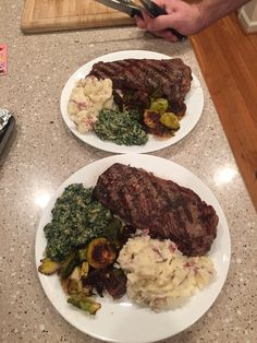 [homemade] Grilled birthday steaks by him Garlic mashed potatoes creamed spinach and roasted brussels sprouts by Me