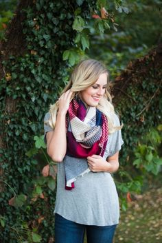 Navy, Burgundy, & Tan Knit Scarf