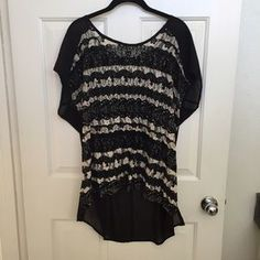 Tops - Lace & Velvet front with Sheer Black Back Top