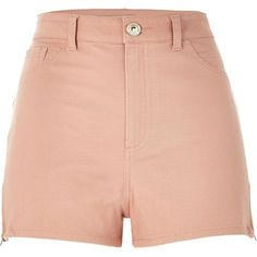 River Island Light pink high waisted Nori shorts ($20) ❤ liked on Polyvore featuring shorts, bottoms, pink, sale, denim shorts, stretch shorts, high-waisted shorts, high-waisted jean shorts and high-waisted denim shorts