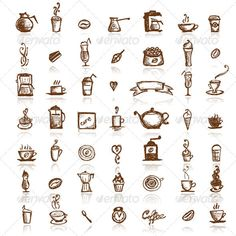 This set of hand drawn design elements includes loads of different types of coffee makers, cups, mugs, and beans for you to choose from.
