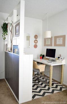 Office Room Dividers, Office Nook, Ikea Room Divider, Hanging Room Dividers, Loft Office, Office Style, Ikea Home Office, Home Office Space, Office Interior Design