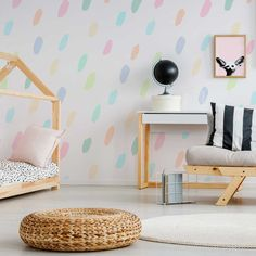 Rainbow Flecks Wallpaper Little pastel dashes of paint arranged diagonally across your wall. A gorgeous wallpaper for a play