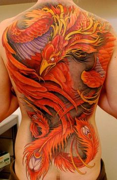 Spectacular Color! Amazing! A Phoenix? That's what I've always imagined in my head a Phoenix tattoo should look like.
