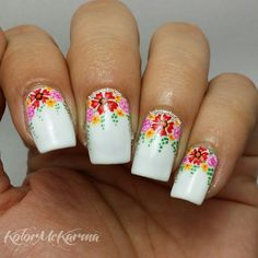 Beautiful floral nail art ===== Check out my Etsy store for some nail art supplies https://www.etsy.com/shop/LaPalomaBoutique