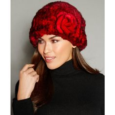 The Fur Vault Rosette Knitted Rex Rabbit Fur Hat ($195) ❤ liked on Polyvore featuring accessories, hats, red, the fur vault, rabbit fur hat, rose hat, rosebud hats and red hat