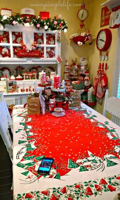 Vintage Christmas Tablecloth for color and fun.  What pizazz! ~ Mary Walds Place - Sunny Simple Life: Cozy Cottage Christmas Tour Part One