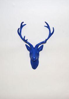 White Faux Taxidermy - Faux Deer Head - Faux Taxidermy - The Eloise in Blue - Blue Resin Deer Head- Blue Deer Antlers Mounted. $74.99, via Etsy.