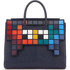 Anya Hindmarch Space Invader™ Leather Flap Tote Bag (179.935 RUB) ❤ liked on Polyvore featuring bags, handbags, tote bags, navy, handbag tote, leather purses, navy blue leather handbags, leather handbags and leather handbag tote