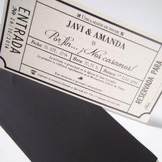 Invitación de boda entrada de cine