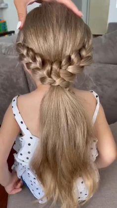 Hairdo For Long Hair, Easy Hairstyles For Long Hair, Easy Little Girl Hairstyles, Short Hair, Thin Hair, Braids For Girls Hair, Hairstyles For Working Out, Hair Plaits, Braids For Medium Length Hair