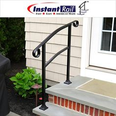 InstantRail Adjustable Handrail (For Concrete Steps) Instantly Adjustable From 0 To 38 Degrees Accommodates 3 Steps Color: Black Installs On Top Of Concrete Or Wood Steps Made From Heavy Gauge Aluminum Exterior Handrail, Wrought Iron Handrail, Iron Handrails, Iron Railings, Handrails For Concrete Steps, Outdoor Stair Railing, Wood Steps, Porch Pillars, Front Porch Steps