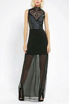 Sparkle & Fade Vegan Leather & Lace Maxi Dress on shopstyle.com