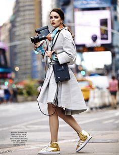 """run baby run"" french glamour fashion editorial, gold adidas hi-top sneakers"