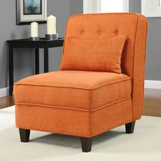 @Overstock.com - Mattie Fiesta Orange Tufted Slipper Chair - Enhance your home decor with this stylish Mattie fiesta orange tufted slipper chair. Welt cord details on the seat and back combine with a matching pillow and soft fabric to highlight this lovely chair.   http://www.overstock.com/Home-Garden/Mattie-Fiesta-Orange-Tufted-Slipper-Chair/6525355/product.html?CID=214117 $189.99