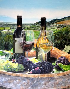 vineyard wine country ~ Toast of the Valley by Gail Chandler ~ watercolor