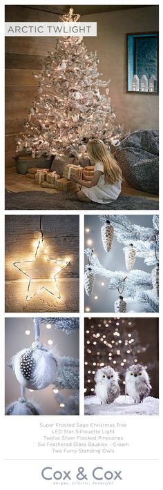 Adorn our Super Frosted Sage Christmas Tree with forest friends, natural textures and glass baubles in muted silvers and greys,