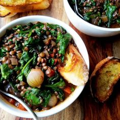 Red Wine Braised Lentils w/ Spinach. Red Wine Braised Lentils with Spinach is chock-full of nutrients and rich earthy flavor. Vegan comfort food at its finest! Spinach Lentil Soup, Red Lentil Soup, Lentil Recipes, Wine Recipes, Vegetarian Recipes, Vegan Wine, Vegan Stew, Thyme Recipes, Spinach Recipes