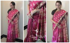 A Beautiful Pink Coloured Semi Silk Saree with lovely Mango Shaped Golden Bhuttas and a Grand designer pallu is all ready and waiting to be hand-picked by the most Beautiful Women out there...!!! With some amazing accesories, look traditional as well as elegant Draping this lovely Saree from SevenFolds!!!