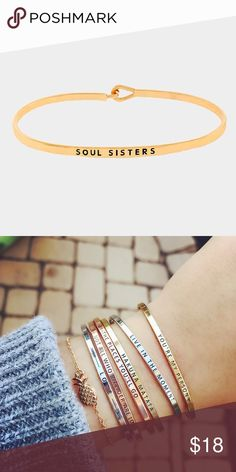 """Soul sisters"" Bracelet Brand new! Super cute!   15% off for bundle purchases of 2 or more items! Purchasing 7 or more items? Please make an offer for 20% off of your bundle with the bundle offer feature and I will accept.  FEEL LIKE MAKING AN OFFER? Please do it through the make an offer feature as I will no longer negotiate prices in the comments section.   PRICE IS FINAL ON ITEMS $15 or less unless bundled. Hannah Beury Jewelry Bracelets"