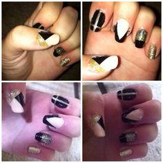 Inspired by Pinterest | nail art | striping | glitter | cross |