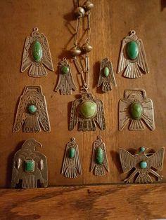 Thunderbird pendants and pins.