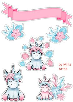 1st Birthday Party For Girls, Unicorn Pictures, Blue Nose Friends, Cake Logo, Easy Paper Crafts, Stickers, Illustrations And Posters, Print And Cut, Cute Drawings