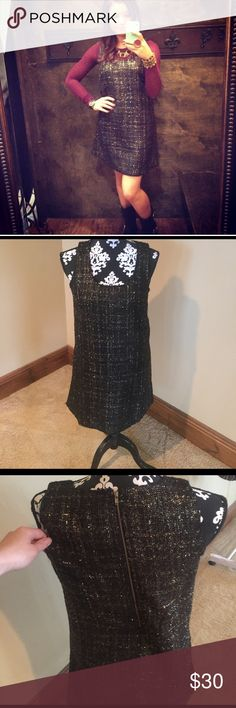 TWEED DRESS Black tweed dress with gold stitching gold zipper up the back Dresses