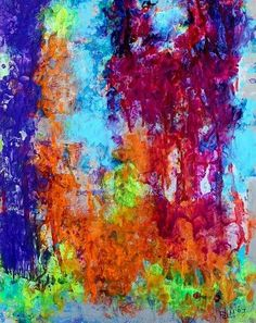 Orange Glow - 2007 original abstract painting on paper acrylic colorful texture