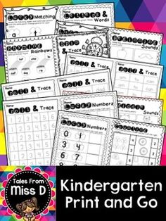 This pack contains no prep/print and go activities for Kindergarten. These activities can be used for morning work, centers, fast finishes or even placed in a sub tub!