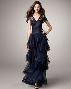 Satin-Trim Staggered-Skirt Gown by Tadashi Shoji at Neiman Marcus.