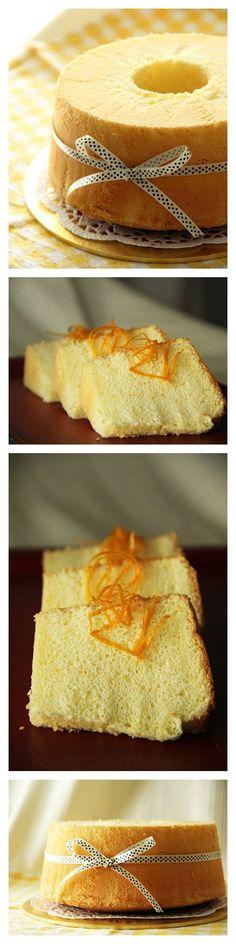 Orange Chiffon Cake Recipe. Airy, light, cottony, and to-die-for orange sponge cake. You've got to make it. Click for recipe. http://rasamalaysia.com