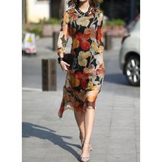 General Tunic Multicolor Day Dresses Polyester Casual Round Neckline Shift Dress Spring Midi Summer Floral S M L Sleeves XL XXL Dress Silk Midi Dress, Midi Dress With Sleeves, Dress Up, Spring Dresses, Day Dresses, Modest Fashion, Fashion Dresses, Casual Formal Dresses, Mi Long
