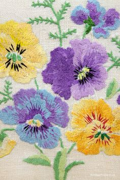 1930s Embroidery of Pansies: www.vintage-home.co.uk