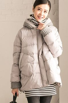 Gray Big Size Woolen Hood Down Jacket