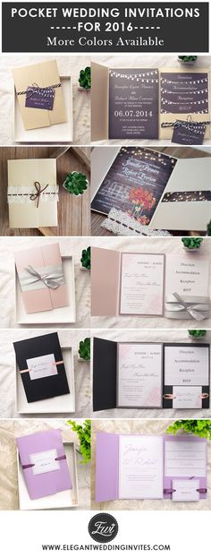 elegant pocket wedding invitations with free RSVP cards for 2016 trends @elegantwinvites / FREE SHIPPING