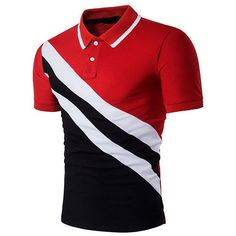 s Cotton Casual Diagonal Stripe Printing Short Sleeve Polo Shirt ($20) ❤ liked on Polyvore featuring men's fashion, men's clothing, men's shirts, men's polos, men tees & tank top polo, red, mens red striped shirt, mens cotton shirts, men's cotton polo shirts and mens striped shirt