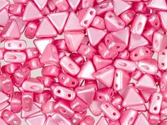 czech glass 6mm kheops par puca pastel pink twohole triangle bead 10 gram