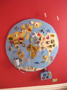 DIY felt wall globe...this is such a fantastic idea!