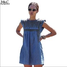 """🆕Cute Jean dress with pockets💙 Super cute and comfy Jean like dress. Made out of denim and polyester materials. Has cute side pockets. Sleeveless dress and is midi in length. Has a very cute bronze design in dress too💙MEASUREMENTS: Small BUST:33.5"""" & LENGTH: 32.4"""". MEDIUM BUST:34.3"""" 32.8"""" (there might but and inch or so discrepancy due to manual measuring and diff methods to measure) Dresses Midi"""