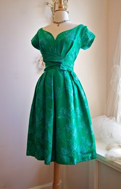 1960's Green Brocade Cocktail Dress