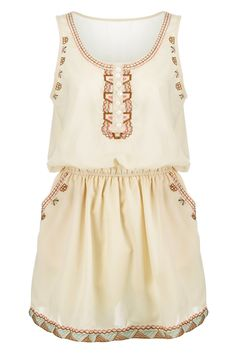 Embroidered Design Apricot Dress
