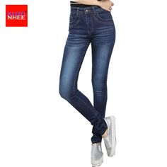 Women Jeans Large Size High Waist Autumn sumber 2017 Blue Elastic Long short Skinny Slim Jeans Trousers For Women 32-42 Size #Affiliate